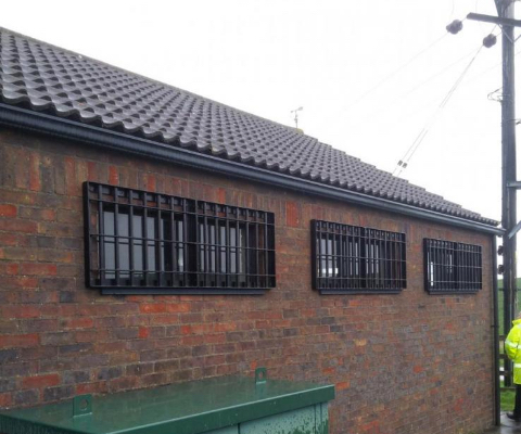 window grilles on building