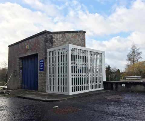 security cage with white grilles